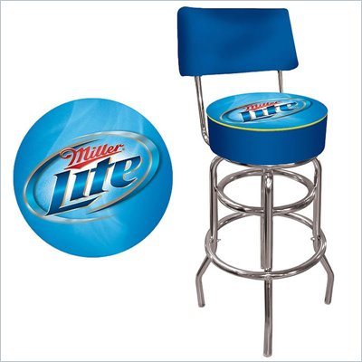 Trademark Retro Miller Lite Padded Bar Stool with Back