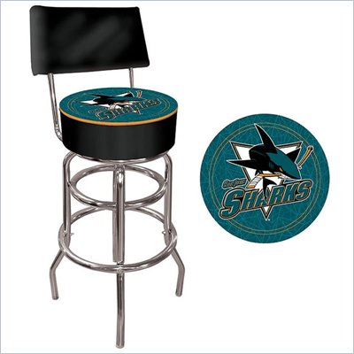 Trademark Retro NHL San Jose Sharks Padded Bar Stool with Back