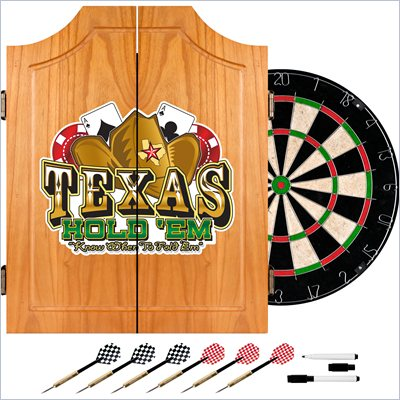 Trademark Texas Hold'em Dart Cabinet includes Darts and Board