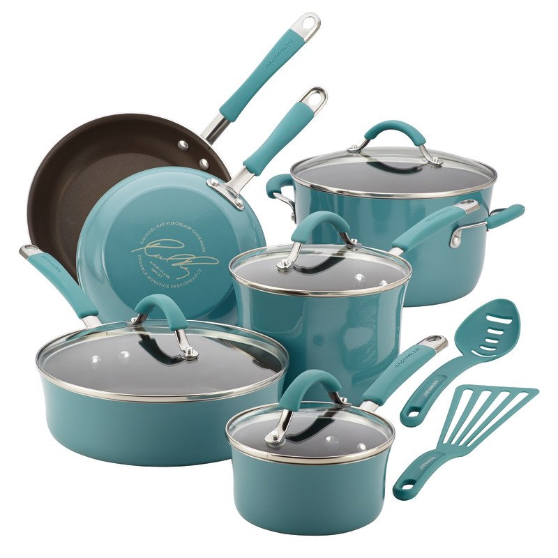 Rachael Ray Cucina 12 Piece Cookware Set in Agave Blue