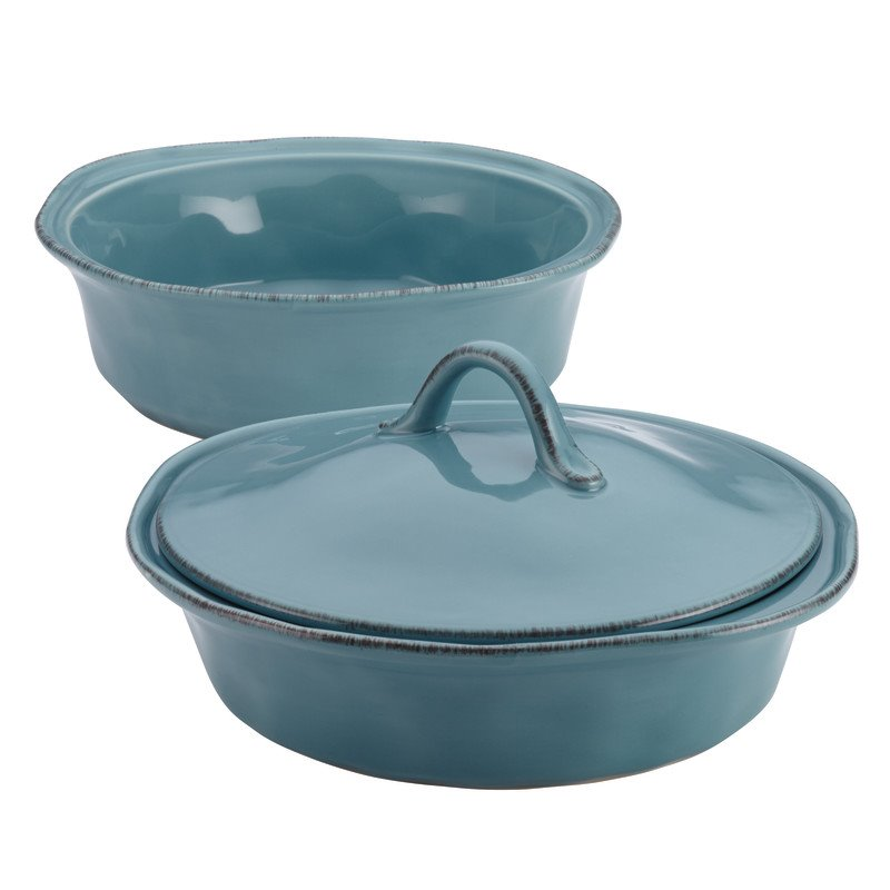 Rachael Ray Cucina Stoneware 3 Piece Casserole Dish Set in Agave Blue 1426760