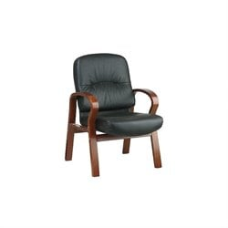 Office Star Leather Visitors Guest Chair with Cherry Finish