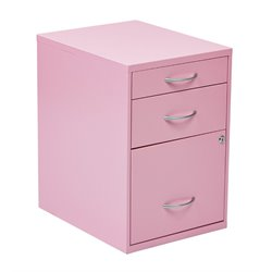 Office Star OSP Designs 3 Drawer Metal File Cabinet in Pink