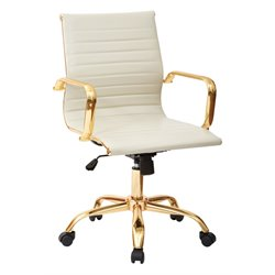 Office Star Work Smart Faux Leather Mid Back Arm Chair in Cream