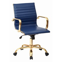 Office Star Work Smart Faux Leather Mid Back Arm Chair in Navy