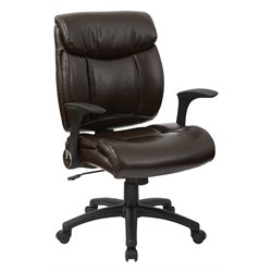 Office Star Work Smart Faux Leather Managers Chair in Chocolate