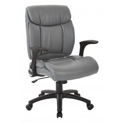 Office Star Work Smart Faux Leather Managers Chair in Charcoal