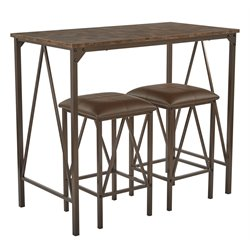 Office Star OSP Designs Catalina 3 Piece Bistro Set in Brown Powder