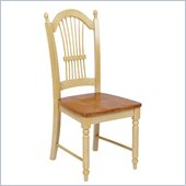 Office Star Country Cottage Side Chair in Antique White and Cherry Finish