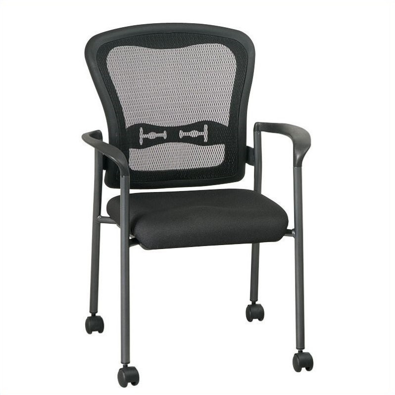 Pro Line II Titanium Finish ProGrid Back Visitors Guest Chair with Arms and Casters