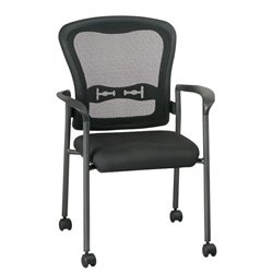 Office Star Pro Line II Titanium Finish ProGrid Back Visitors Chair with Arms and Casters