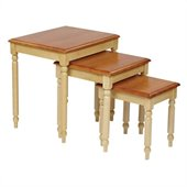 Office Star Country Cottage 3 Piece Nesting Table in Whitewood and Cherry