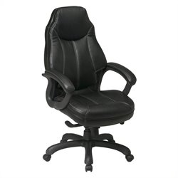 Office Star FL Series Oversized Executive Faux Leather Office Chair in Black