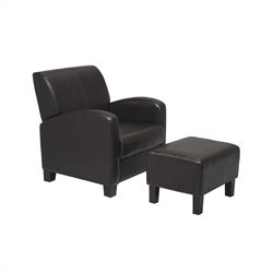Office Star Metro Club Chair with Ottoman in Espresso