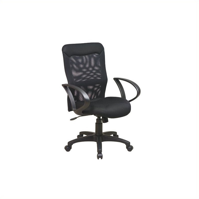 Work Smart Screen Back Office Chair with Mesh Seat and Loop Arms in Black