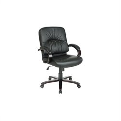 Office Star Black Mid Back Executive Leather Office Chair with Mahogany Finish Wood Base and Arms