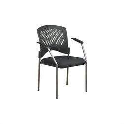 Office Star Guest Stacking Chair with Arms and Plastic Wrap Around Back