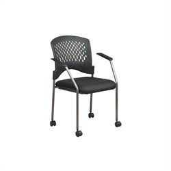 Office Star Rolling Guest Chair with Casters and Arms