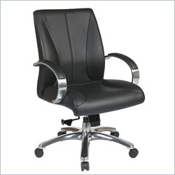Office Star 8000 Series Mid Back Executive Leather Office Chair in Black