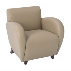 Office Star Eleganza Eco Leather Club Chair in Taupe and Cherry