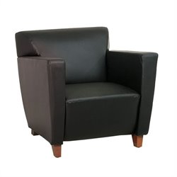 Office Star Furniture Leather Club Chair in Black