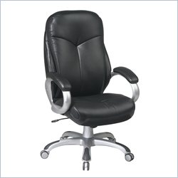 Office Star ECH Series High Back Eco Leather Office Chair in Black
