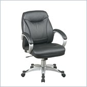 Office Star Faux Leather Mid Back Chair in Black