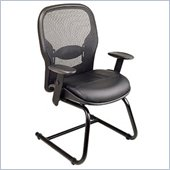 Office Star SPACE Collection: Matrex Back Cantilever Base Guest Chair with Leather Seat in Black