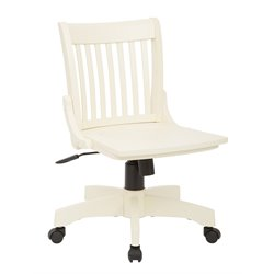 Office Star Deluxe Armless Wood Banker's Office Chair in Antique White