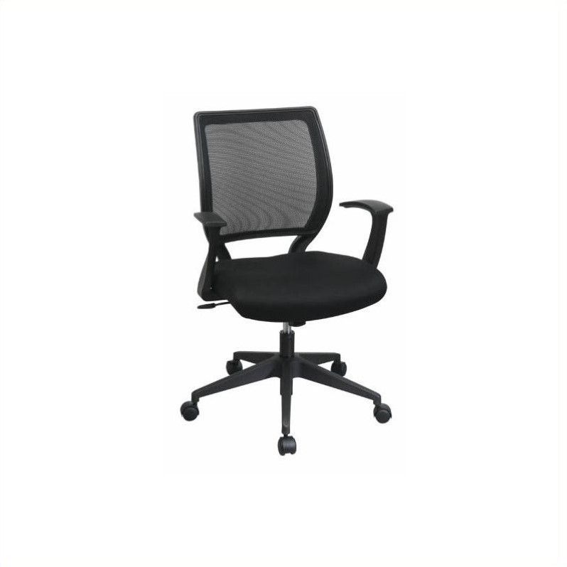 Screen Back Office Chair with Mesh Seat and Fixed Designer Arms