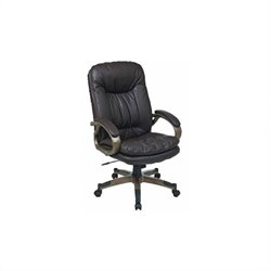 Office Star Executive Eco Leather Office Chair with Locking Tilt Control and Coated Base in Espresso