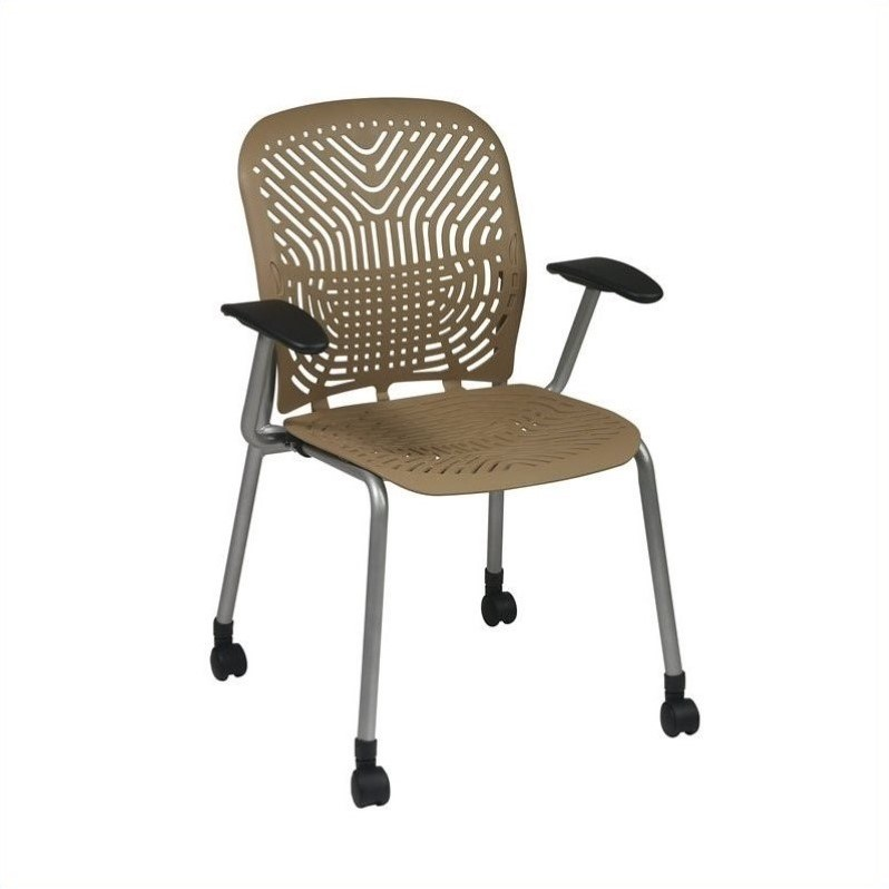 801 Latte Visitors Guest Chair with PF and Arms and Casters (Set of 2)