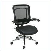 Office Star 818A High Back Chair w/ Leather Seat in Black/Gunmetal