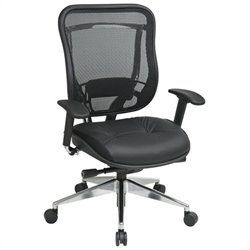 Office Star 818A High Back Office Chair w/ Leather Seat in Black/Gunmetal