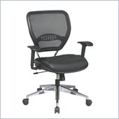 Office Star 58 Air Grid Back Task Chair w/ Leather Seat in Black
