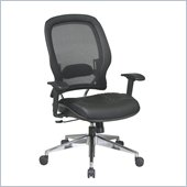 Office Star 335 Air Grid Back Managers Chair w/ Leather Seat in Black