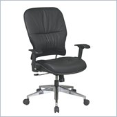 Office Star 32 Black Leather Managers Chair w/ Finish Base