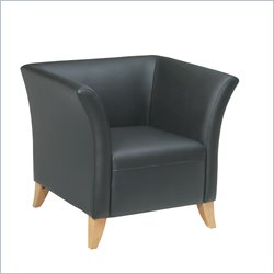 OSP Lounge Seating Black Leather Club Chair w/ Maple Finish