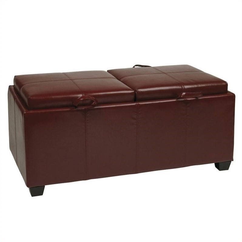 Office Star Metro Storage Bench W Trays Red Faux Leather Ottoman Ebay