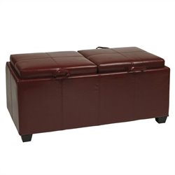Office Star Metro Storage Bench Ottoman with Trays in Red Faux Leather