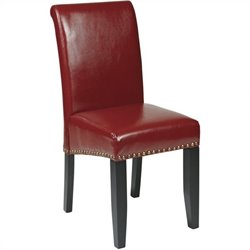 Office Star Metro Parsons Nail Head Dining Chair in Crimson Red