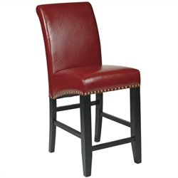 Office Star Metro 24 Counter-Height Parsons Bar Stool in Crimson Red