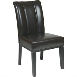 Office Star Metro Parsons Pleated Back Dining Side Chair in Espresso
