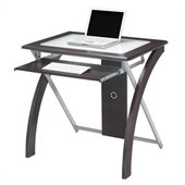 Office Star X-Text Computer Desk in Espresso w/ Silver Accents