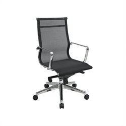 Office Star Deluxe Mesh Mid Back Office Chair with Polished Aluminum