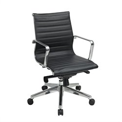 Office Star OSP Furniture Black Eco Leather Mid Back Office Chair