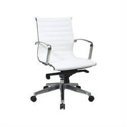 Office Star Deluxe White  Eco Leather Back and Seat Mid Back Office Chair
