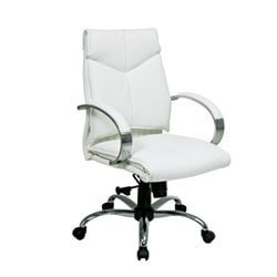 Office Star Deluxe Mid Back White Leather Executive Office Chair