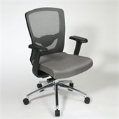 Office Star ProGrid High Back Chair with Adjustable Arms in Grey