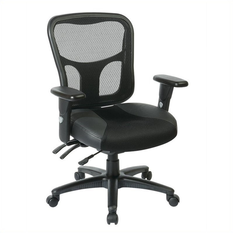 ProGrid High Back Manager Office Chair with Leather and Mesh Seat